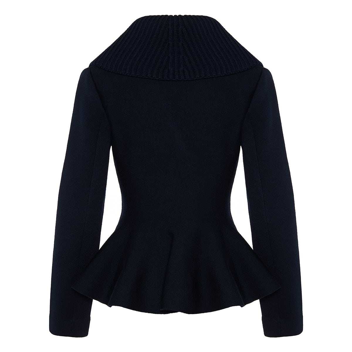 Double-breasted knitted peplum jacket
