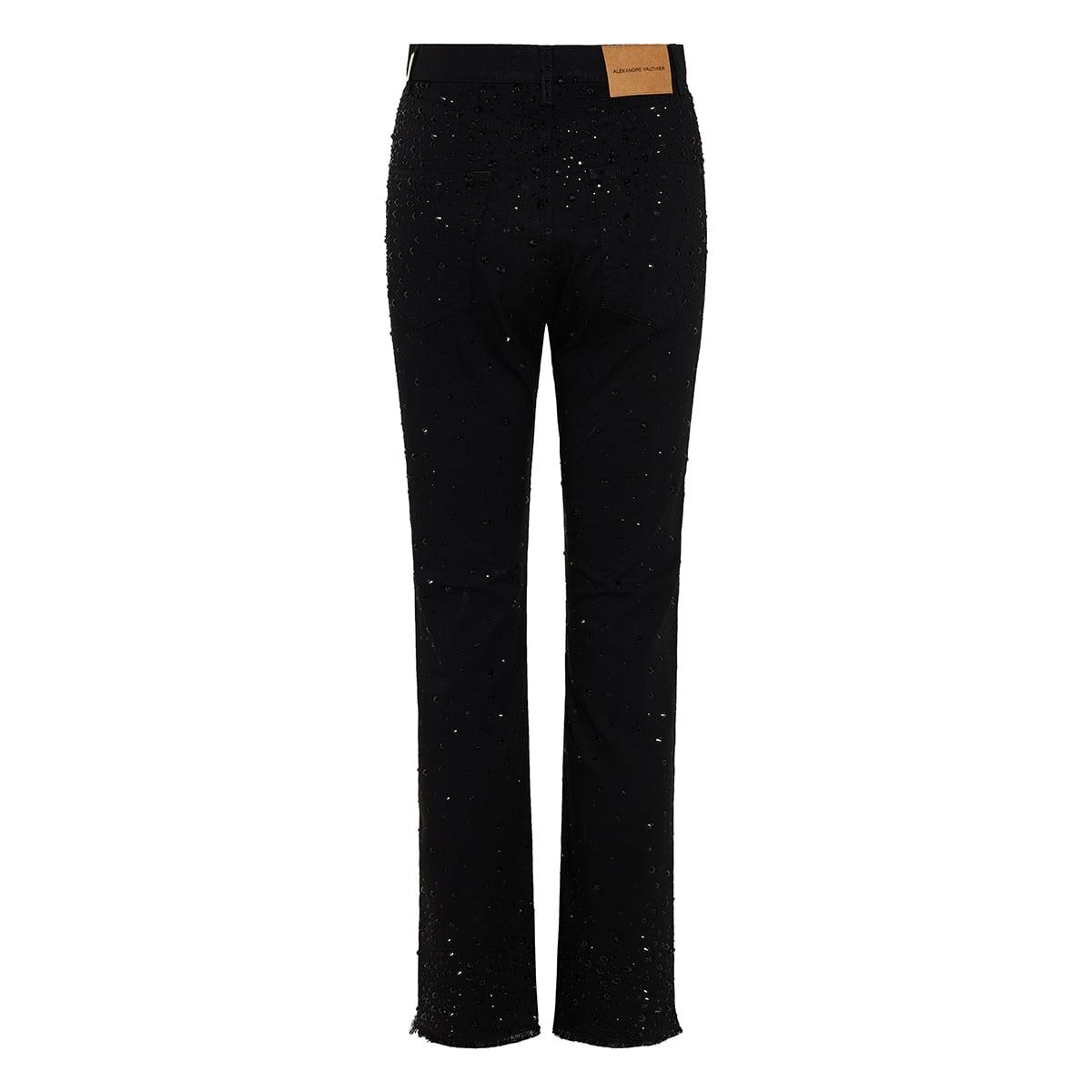 Crystal-embellished denim trousers