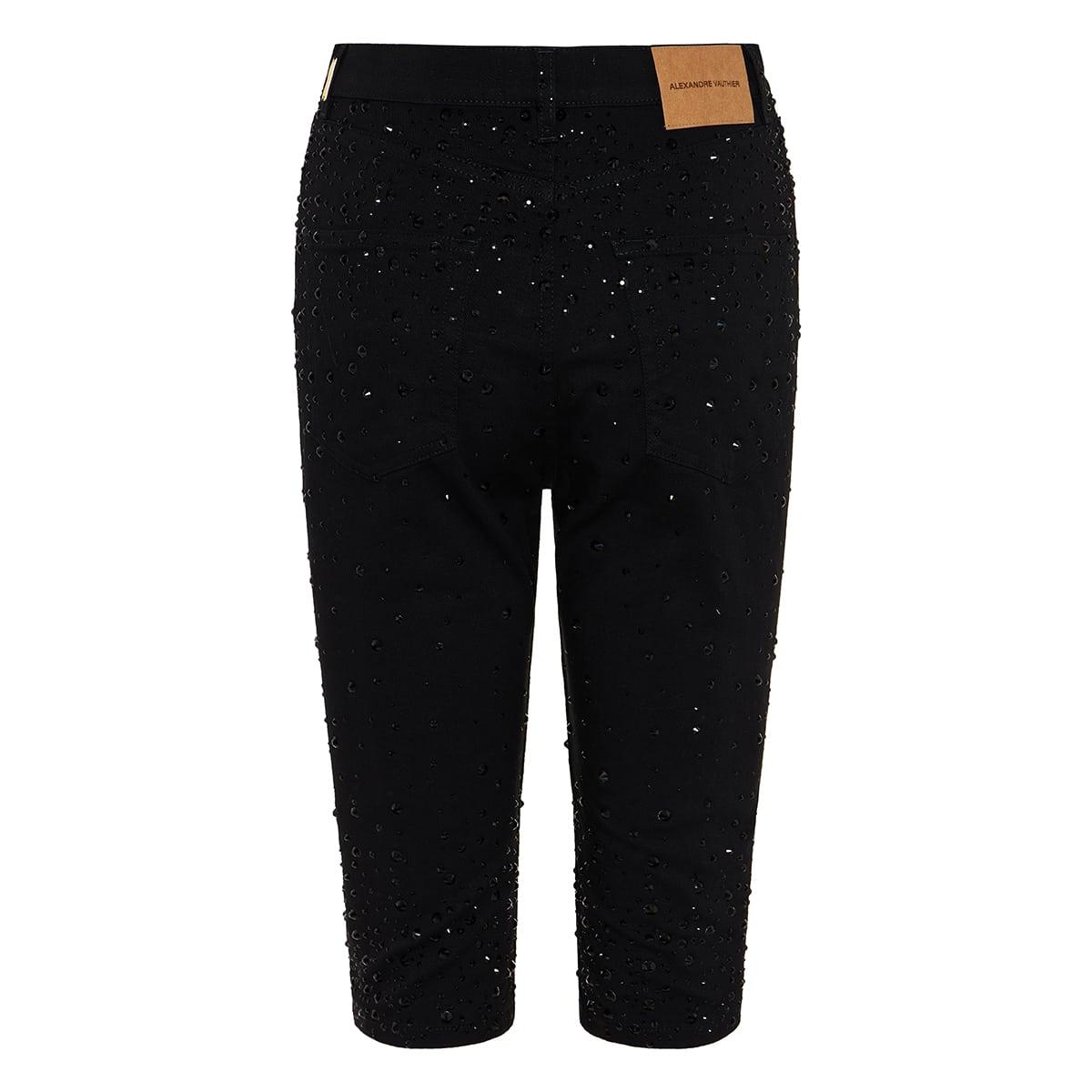 Crystal-embellished denim shorts