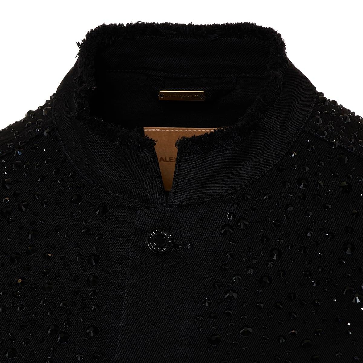 Crystal-embellished denim jacket