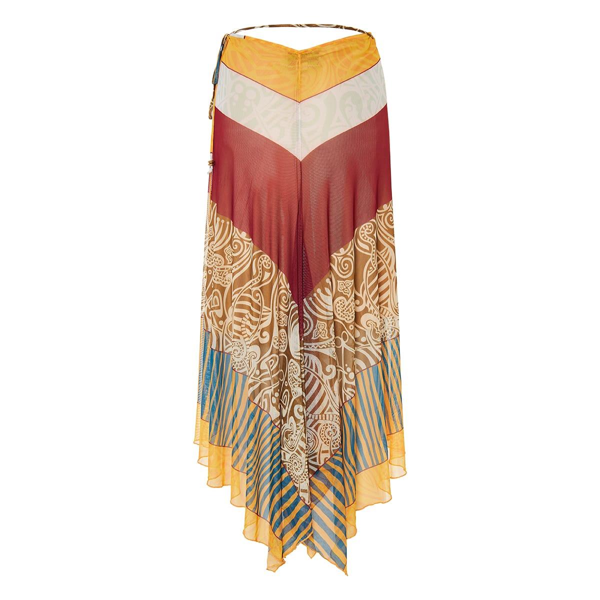 Remina printed long wrap skirt