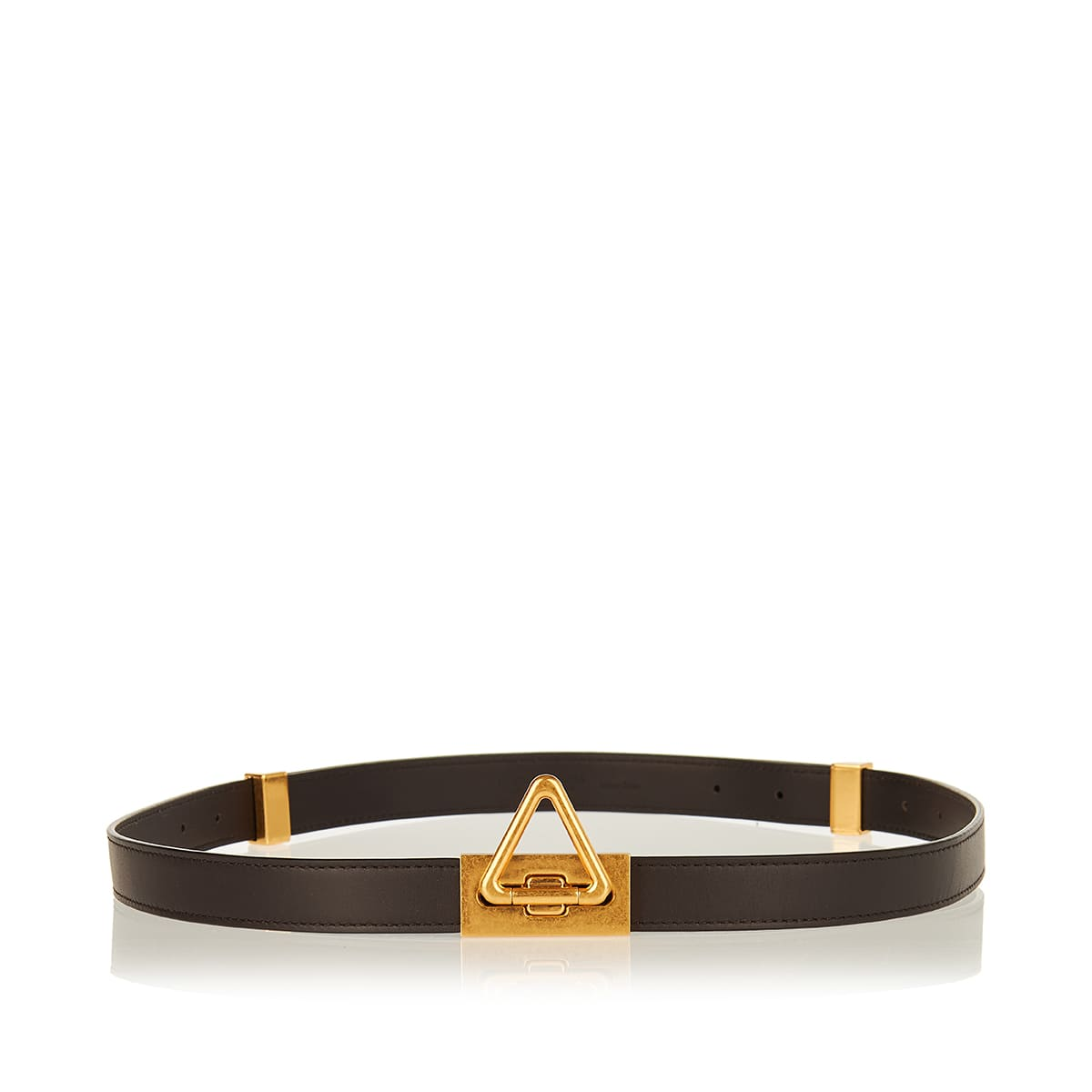 Triangle-buckle leather belt