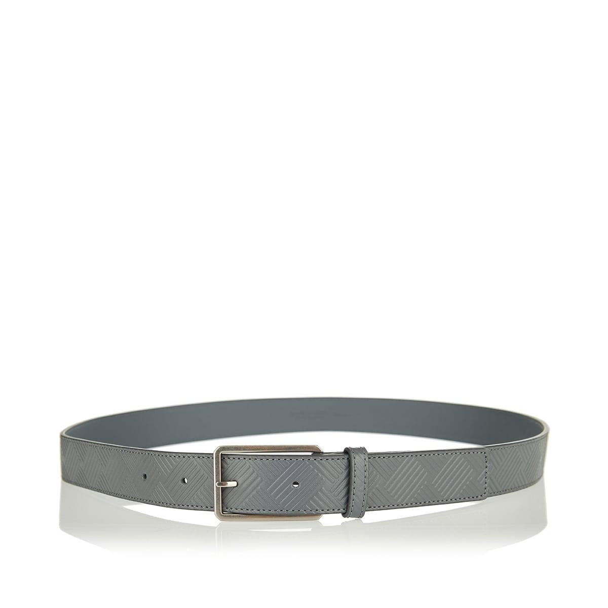 Embossed intreccio leather belt