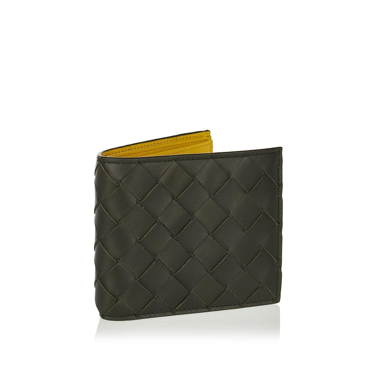 Two-tone Intrecciato bi-fold leather wallet