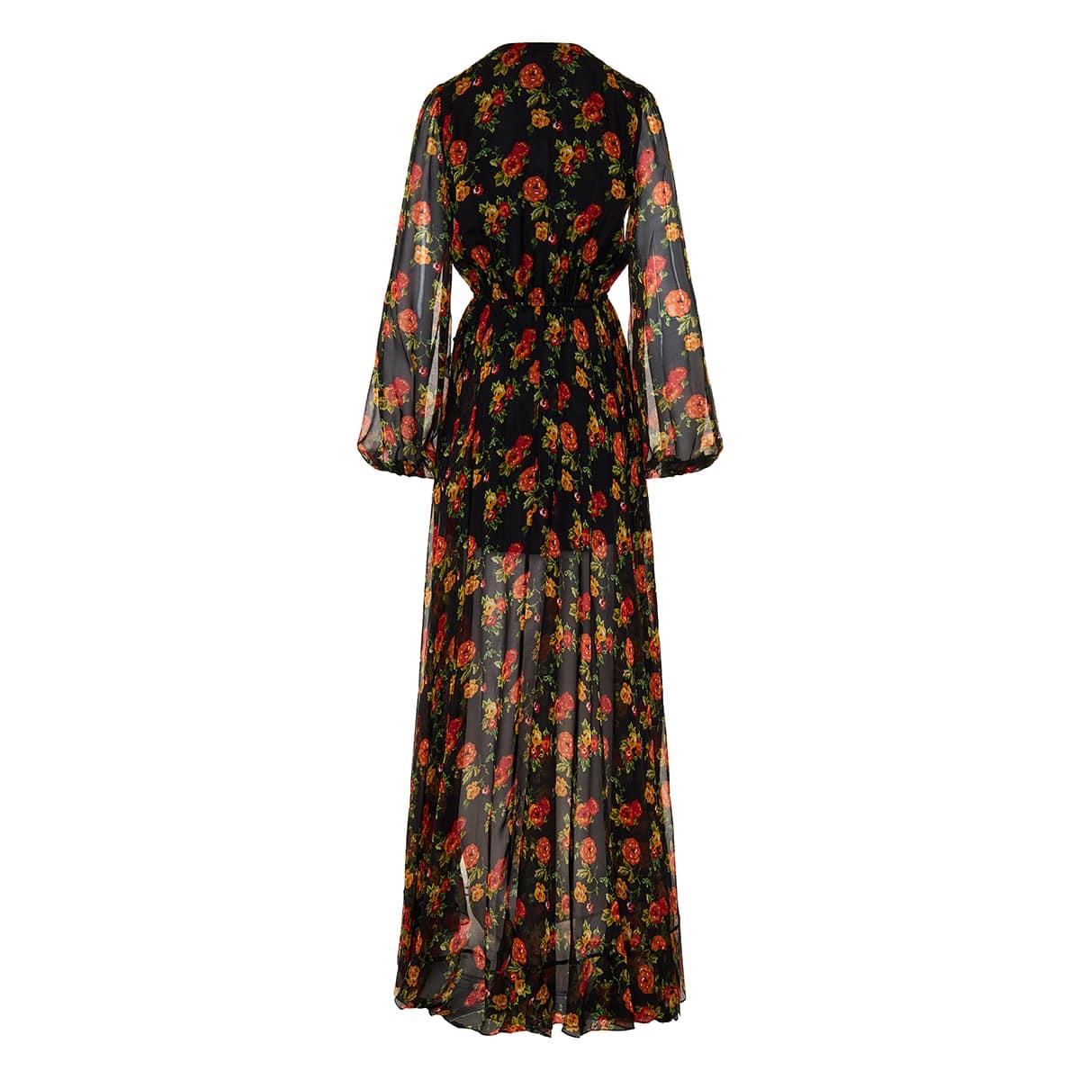 Liv floral silk chiffon long wrap dress