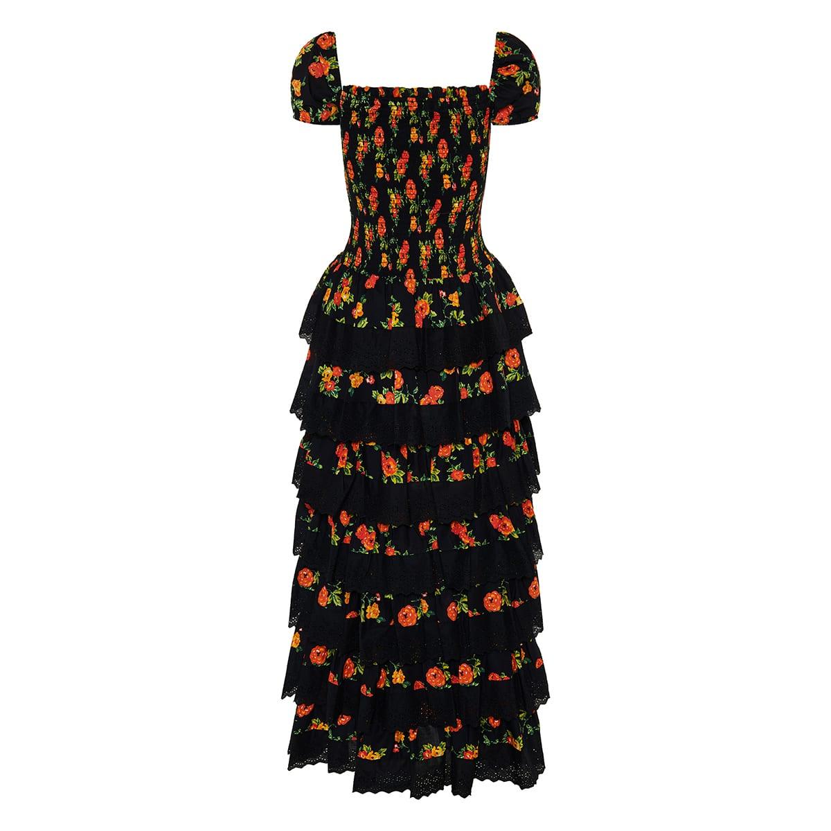 Keegan floral tiered long dress