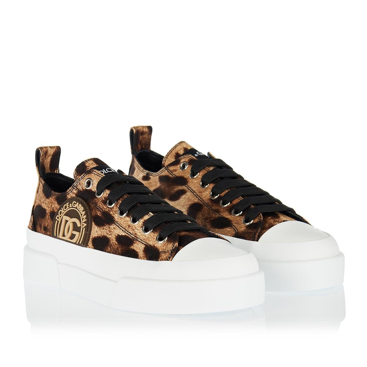 Portofino leopard cotton sneakers