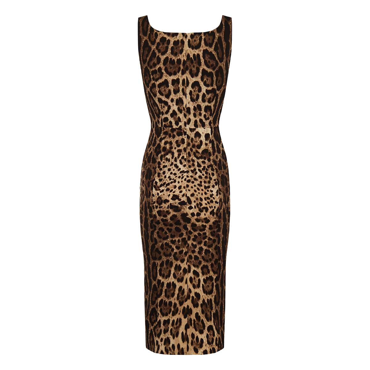 Leopard print silk pencil dress