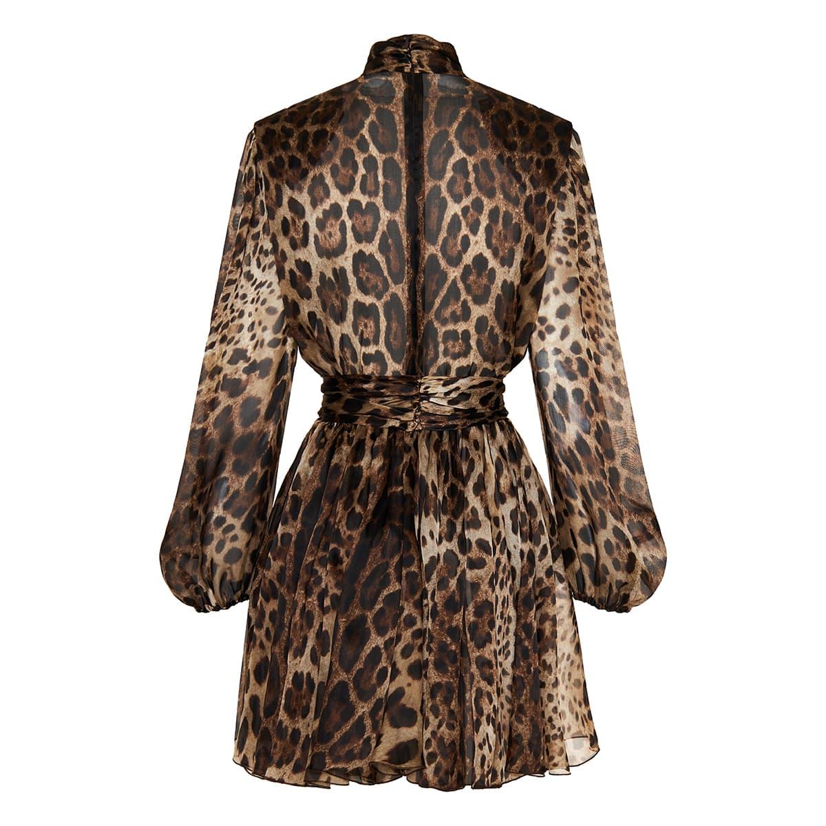 Bow-tie leopard print mini dress