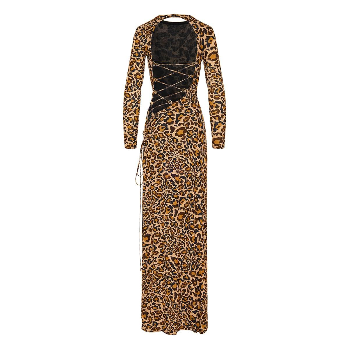Nirvana leopard open-back long dress