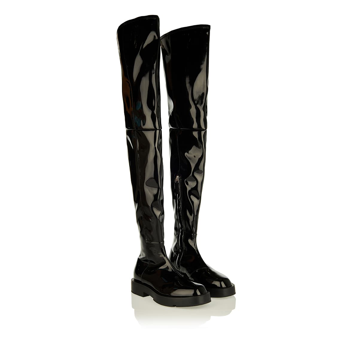 Patent leather thigh boots