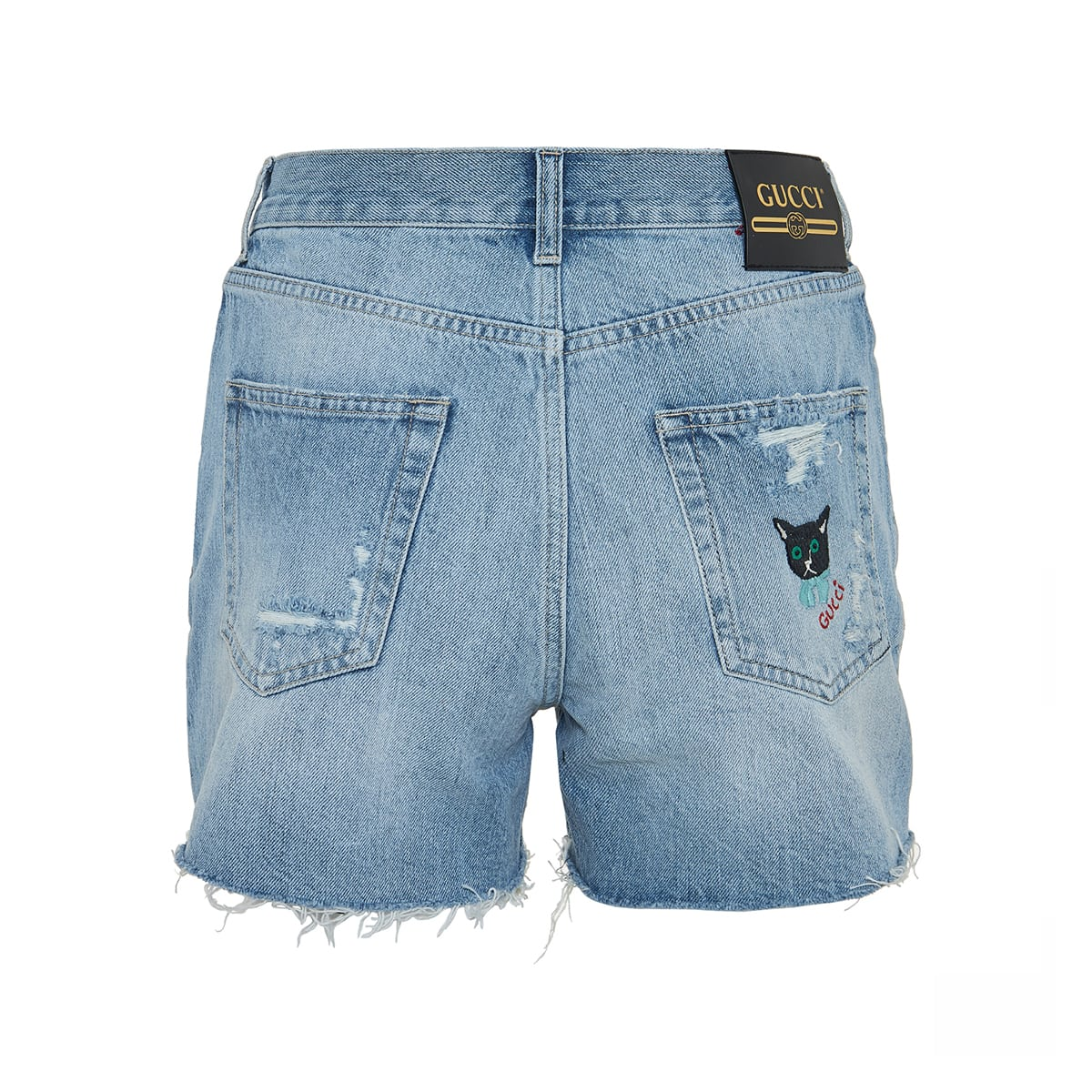 Cat-embroidery ripped denim shorts