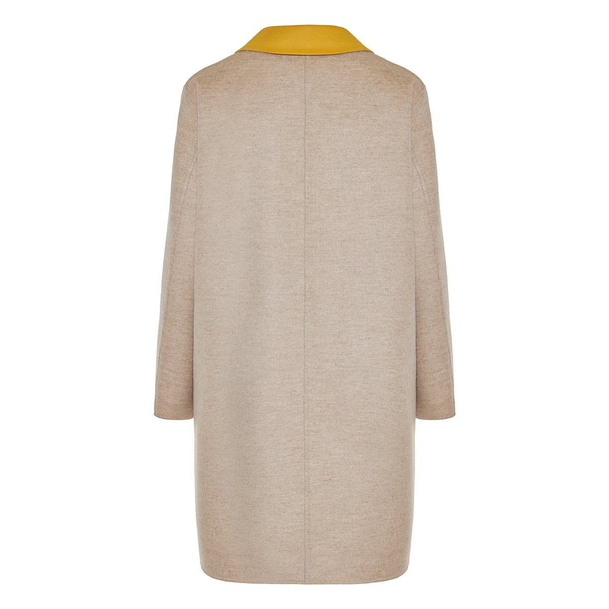 Two-tone single-breasted wool coat
