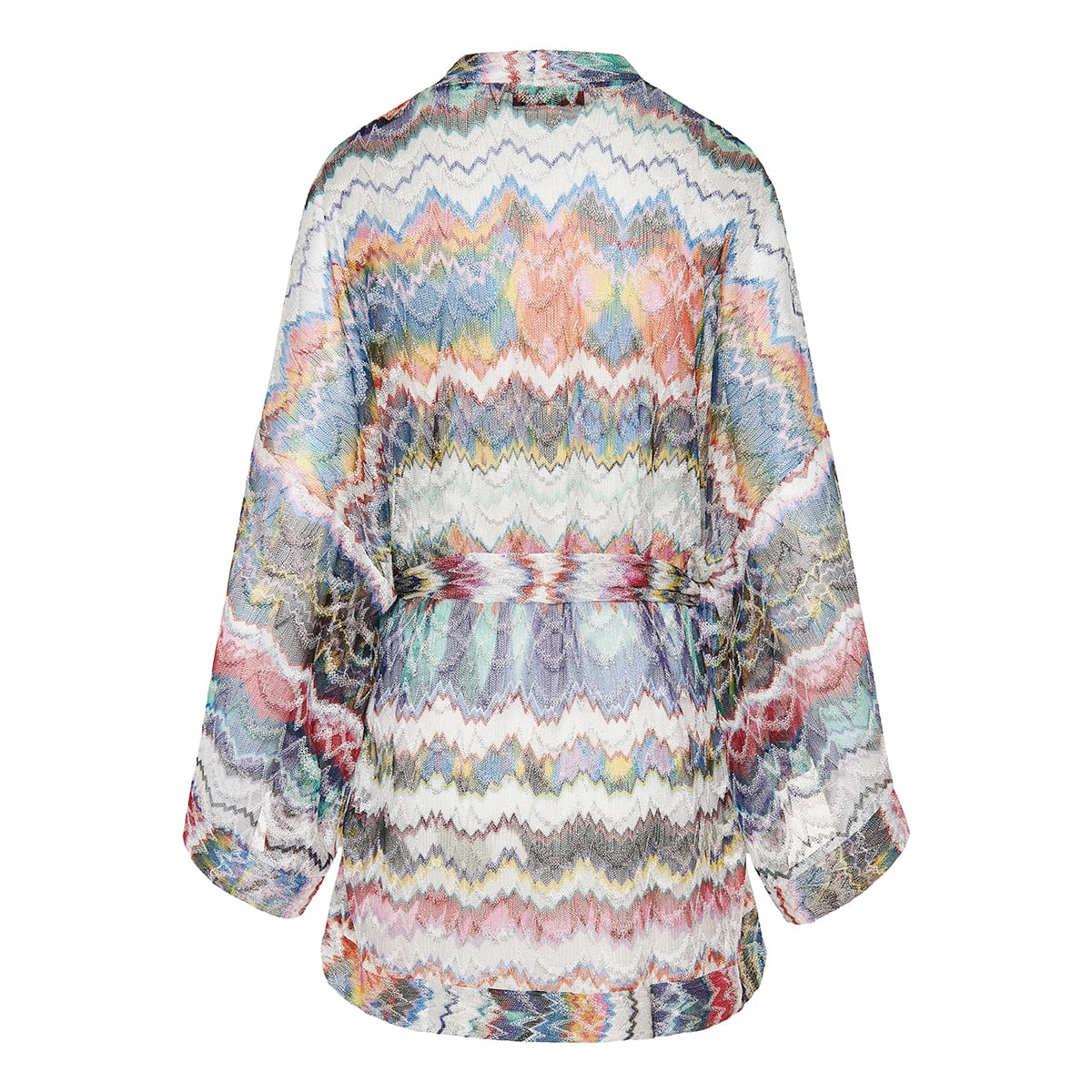 Patterned knit short robe dress