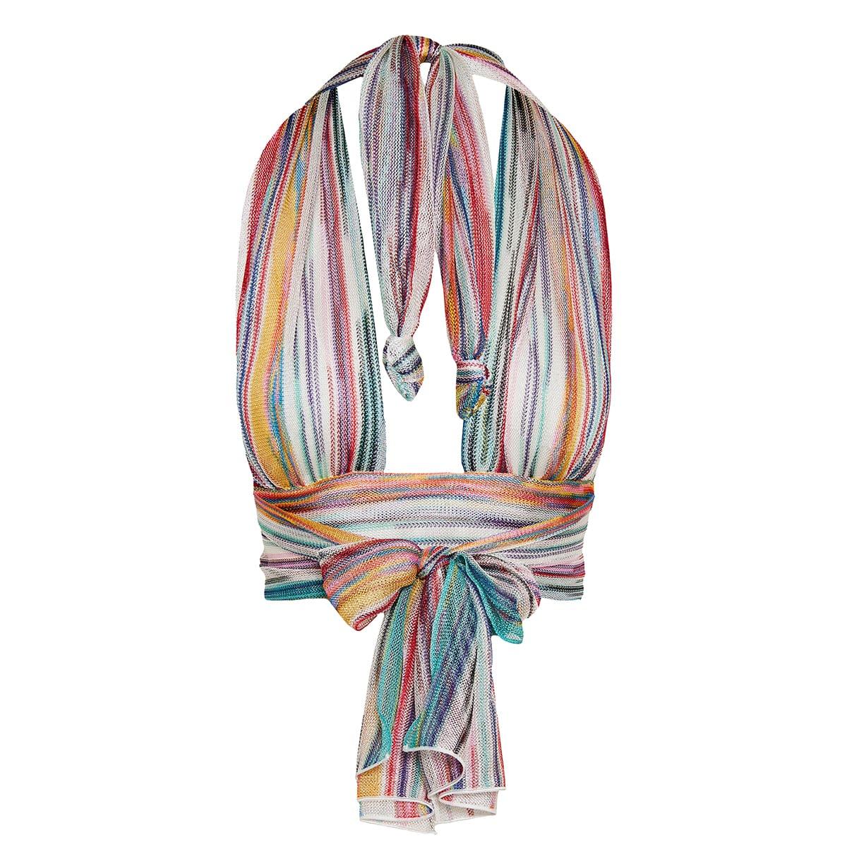 Striped knit halterneck cropped top