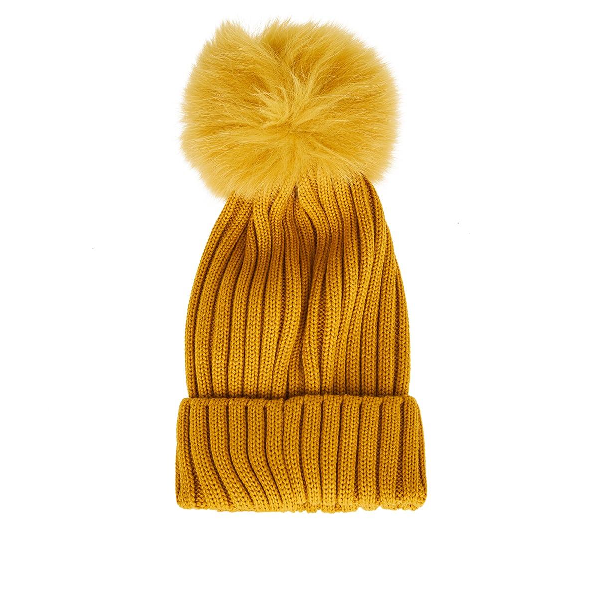 Fur ribbed wool beanie
