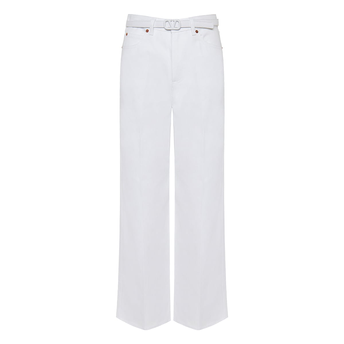 Belted wide-leg cropped denim trousers