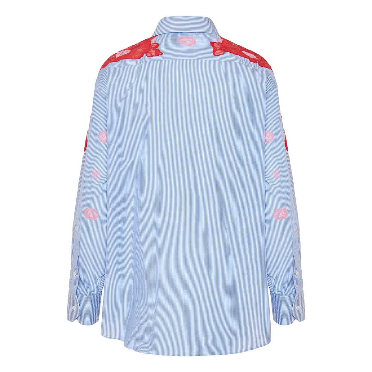 Lace-embellished striped shirt