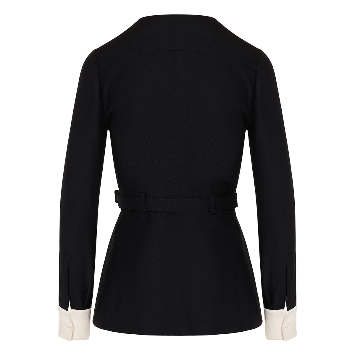 Vlogo two-tone belted crepe top