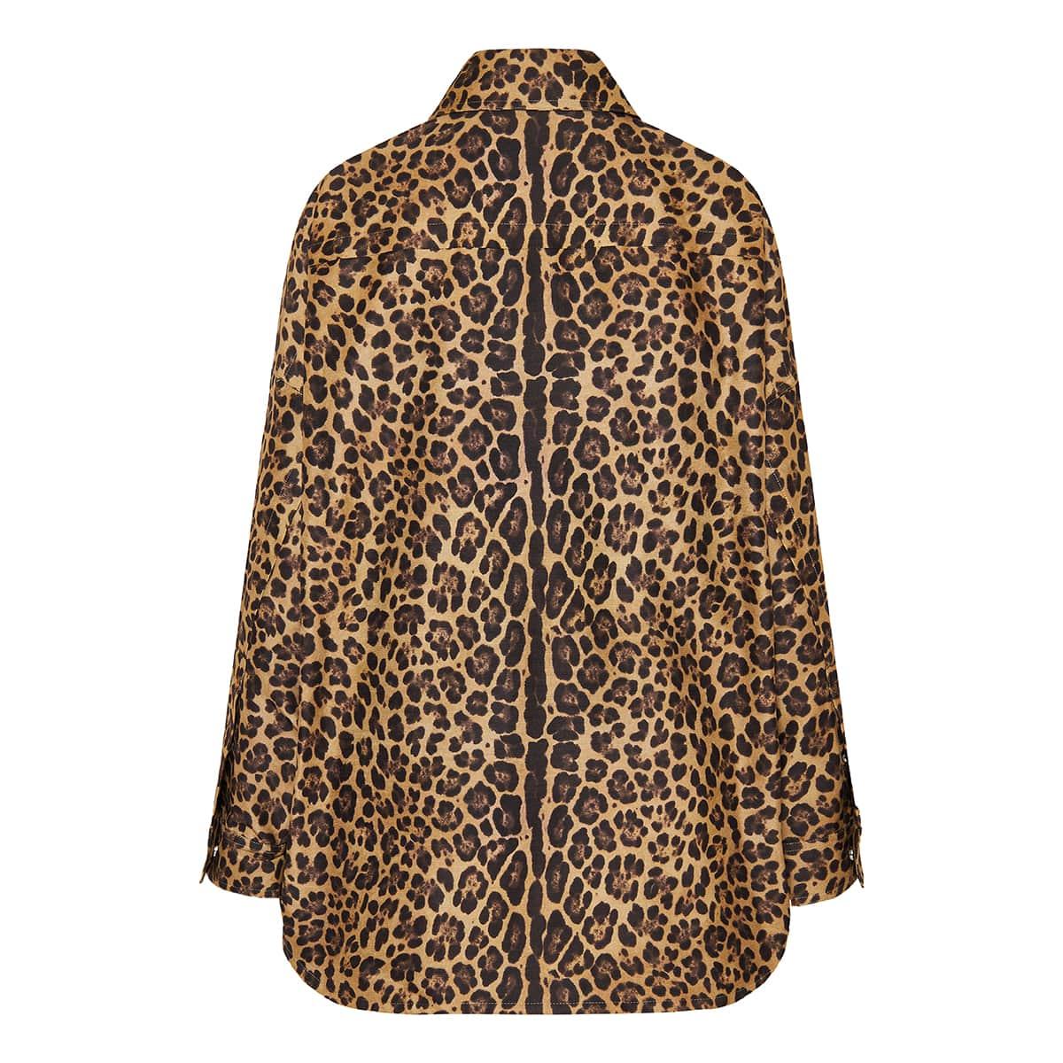 Leopard oversized cotton pea coat