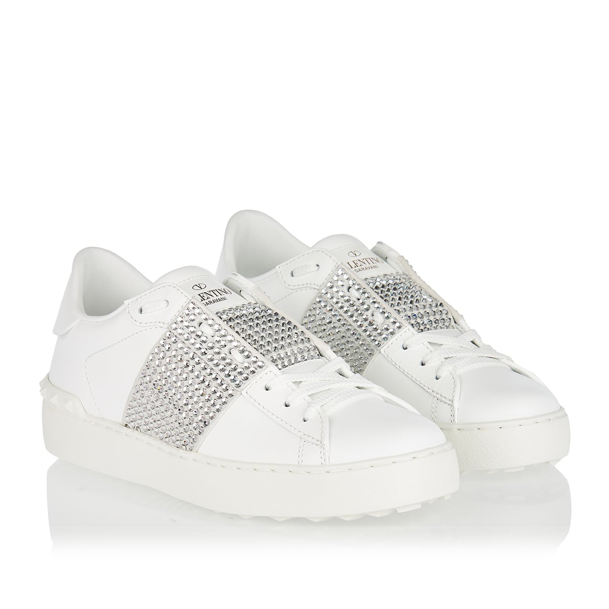 Open crystal-embellished leather sneakers