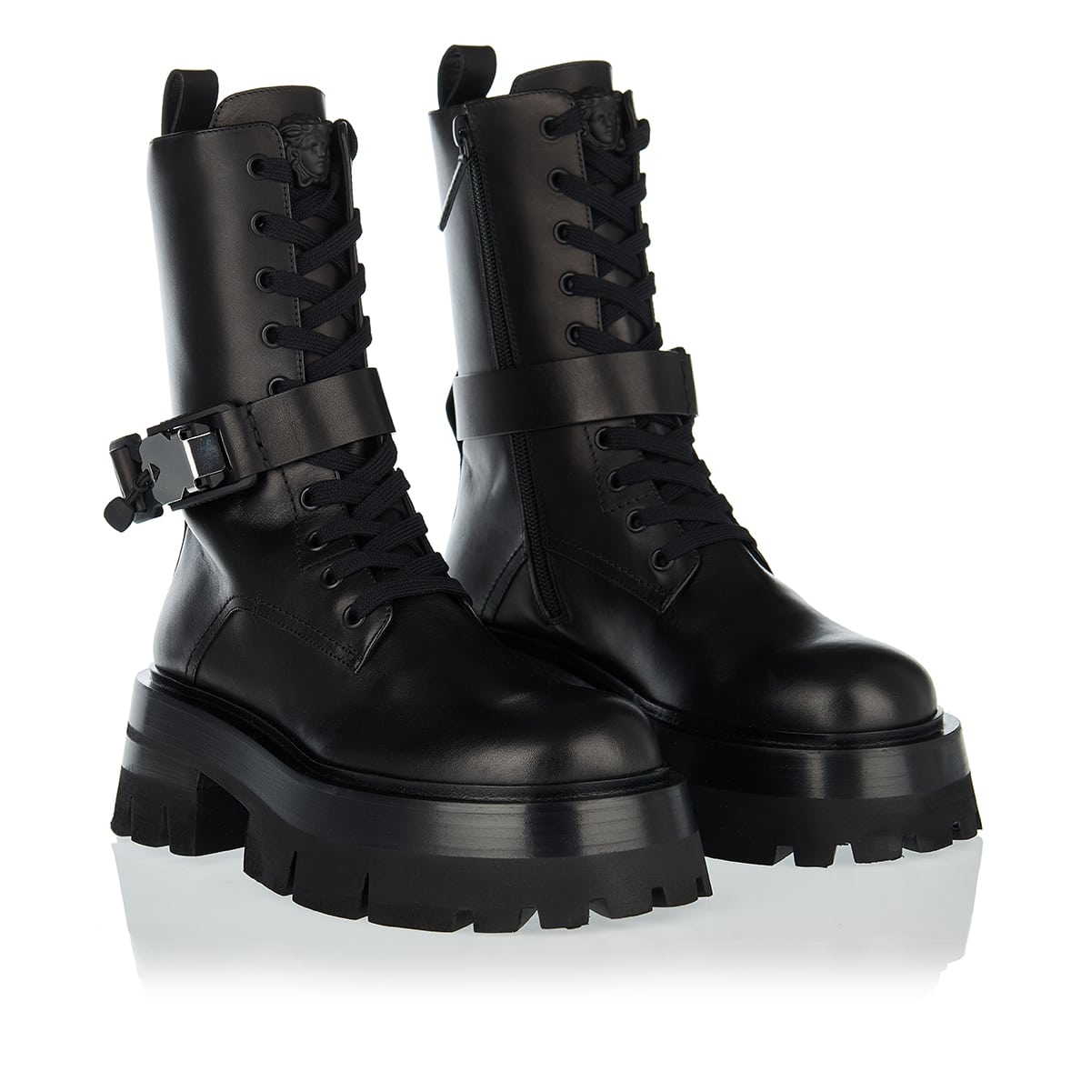 Leonidas chunky leather combat boots