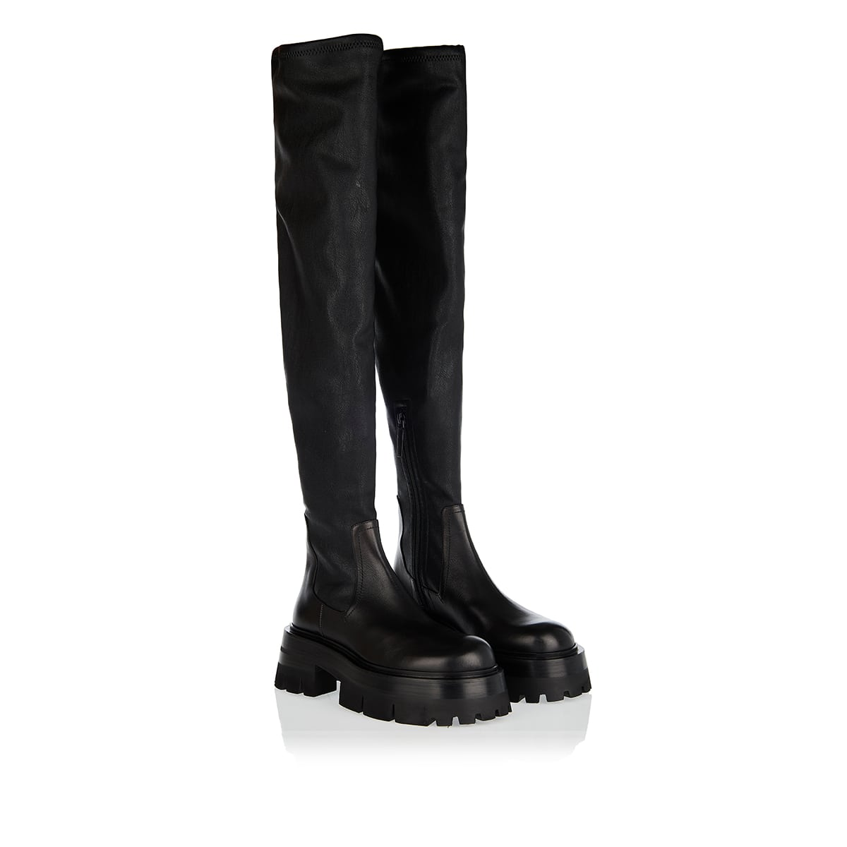 Leonidas thigh-high chunky leather boots