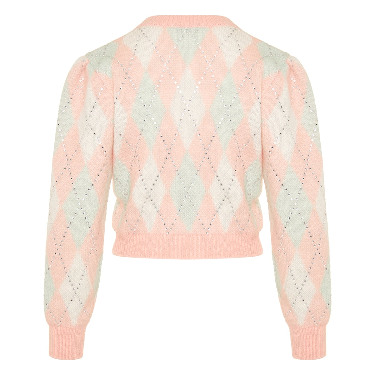 Crystal-embellished cropped argyle cardigan