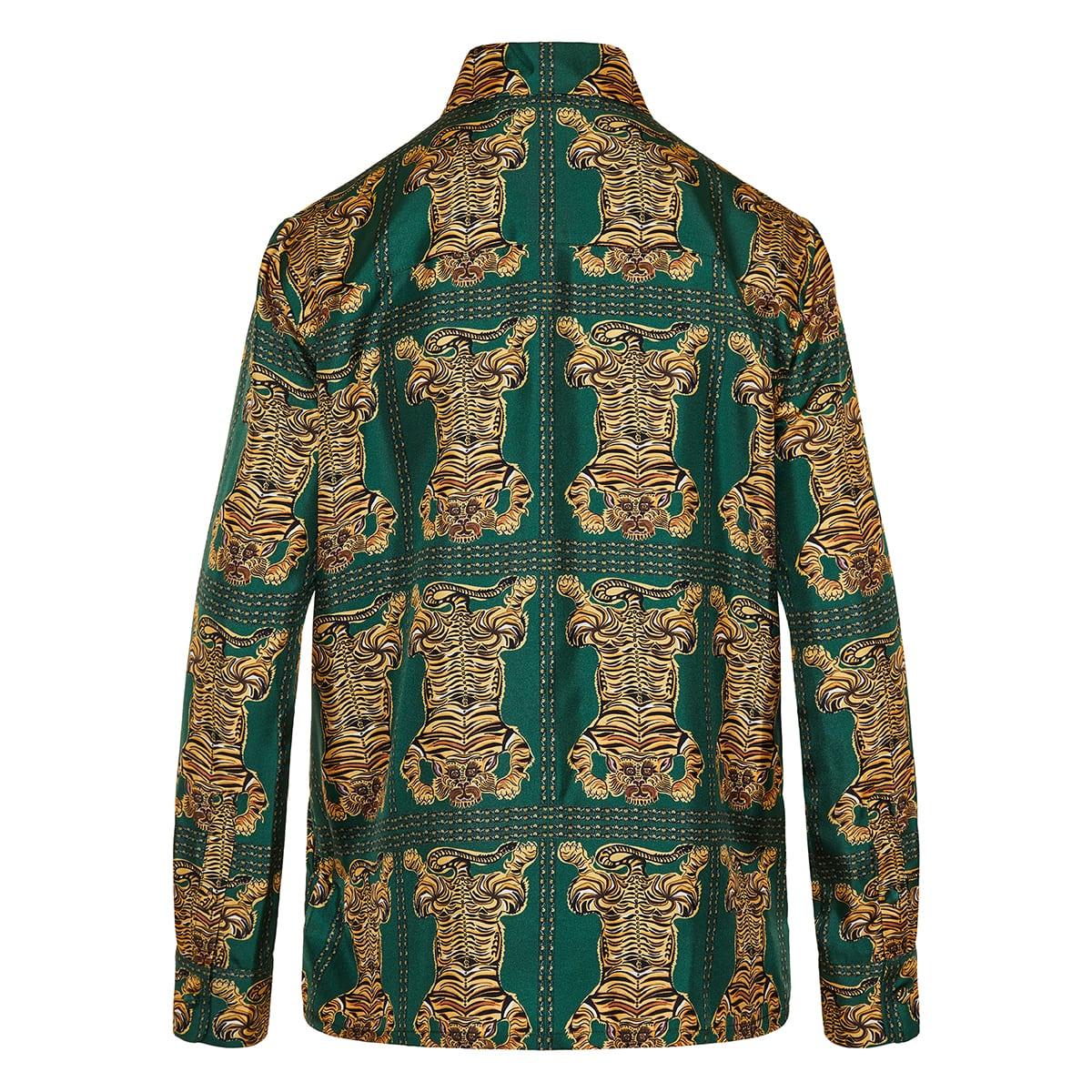Boy tiger printed silk shirt