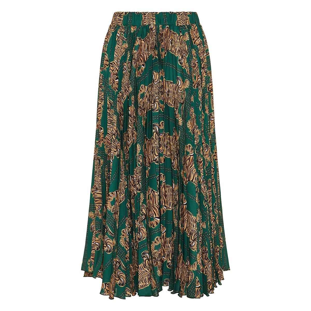 Soleil tiger print pleated midi skirt