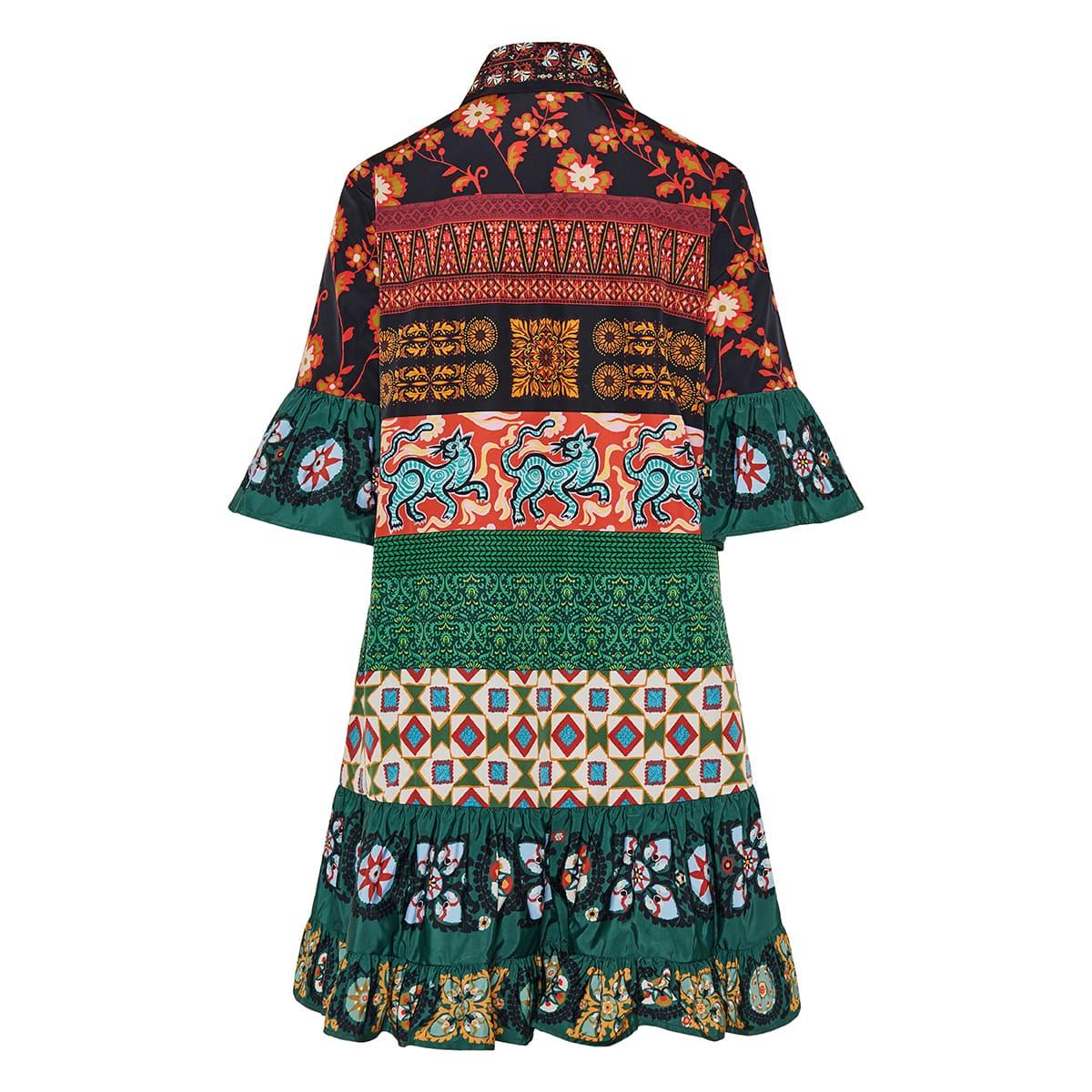Choux patchwork print mini shirt dress