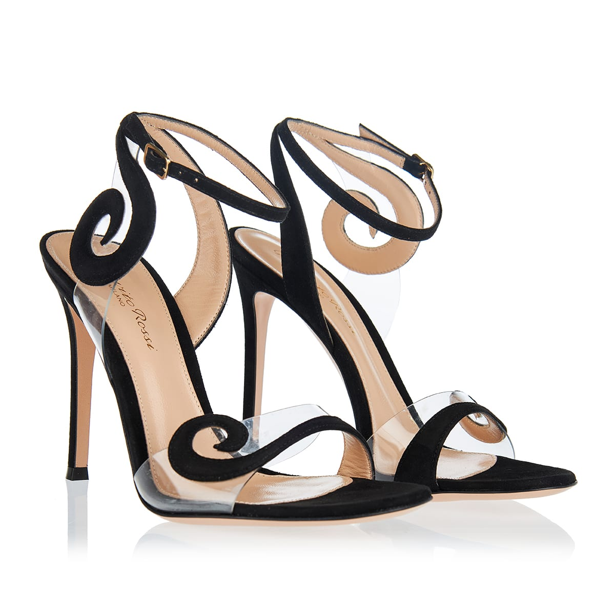 Suede and pvc sandals