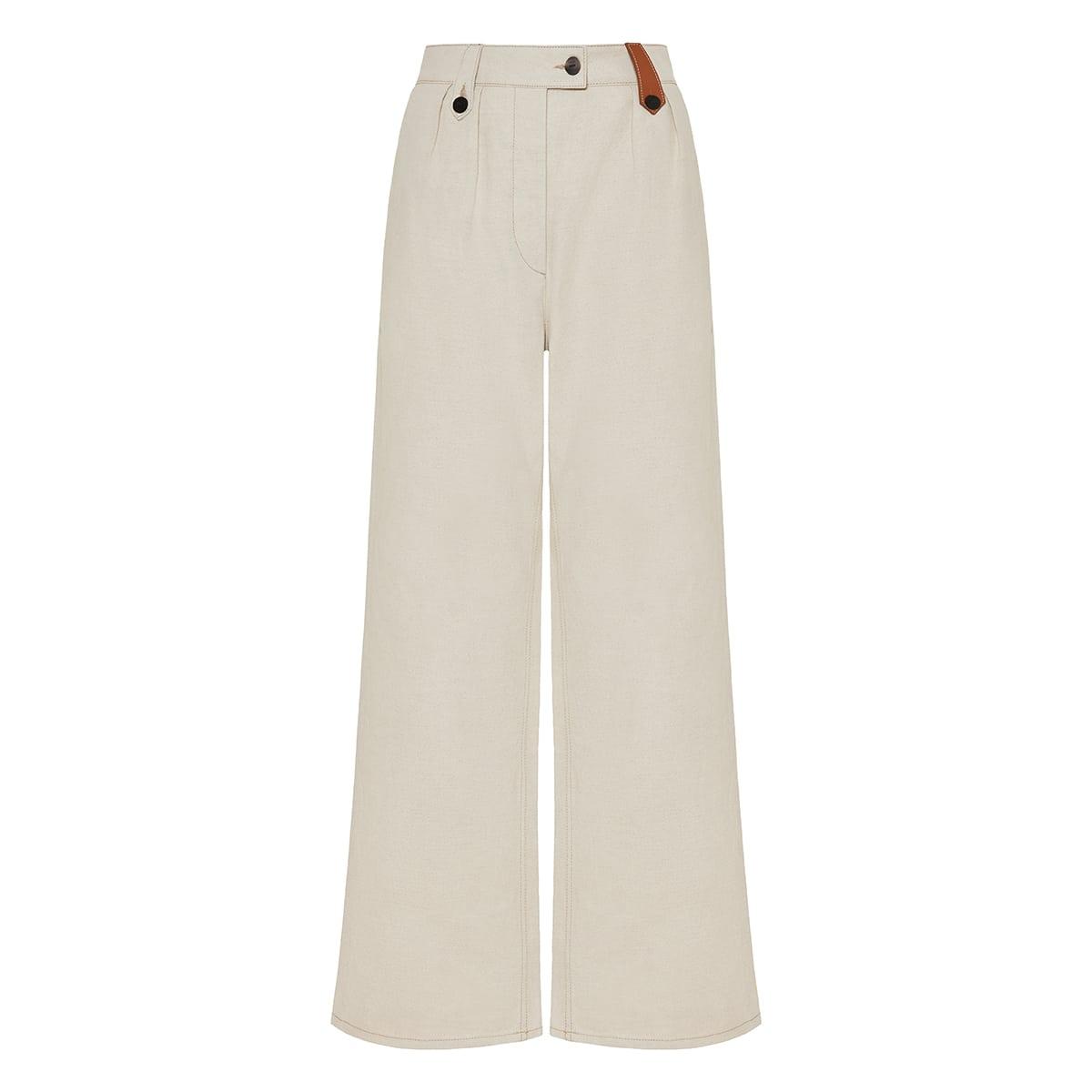 Wide-leg cotton-linen trousers