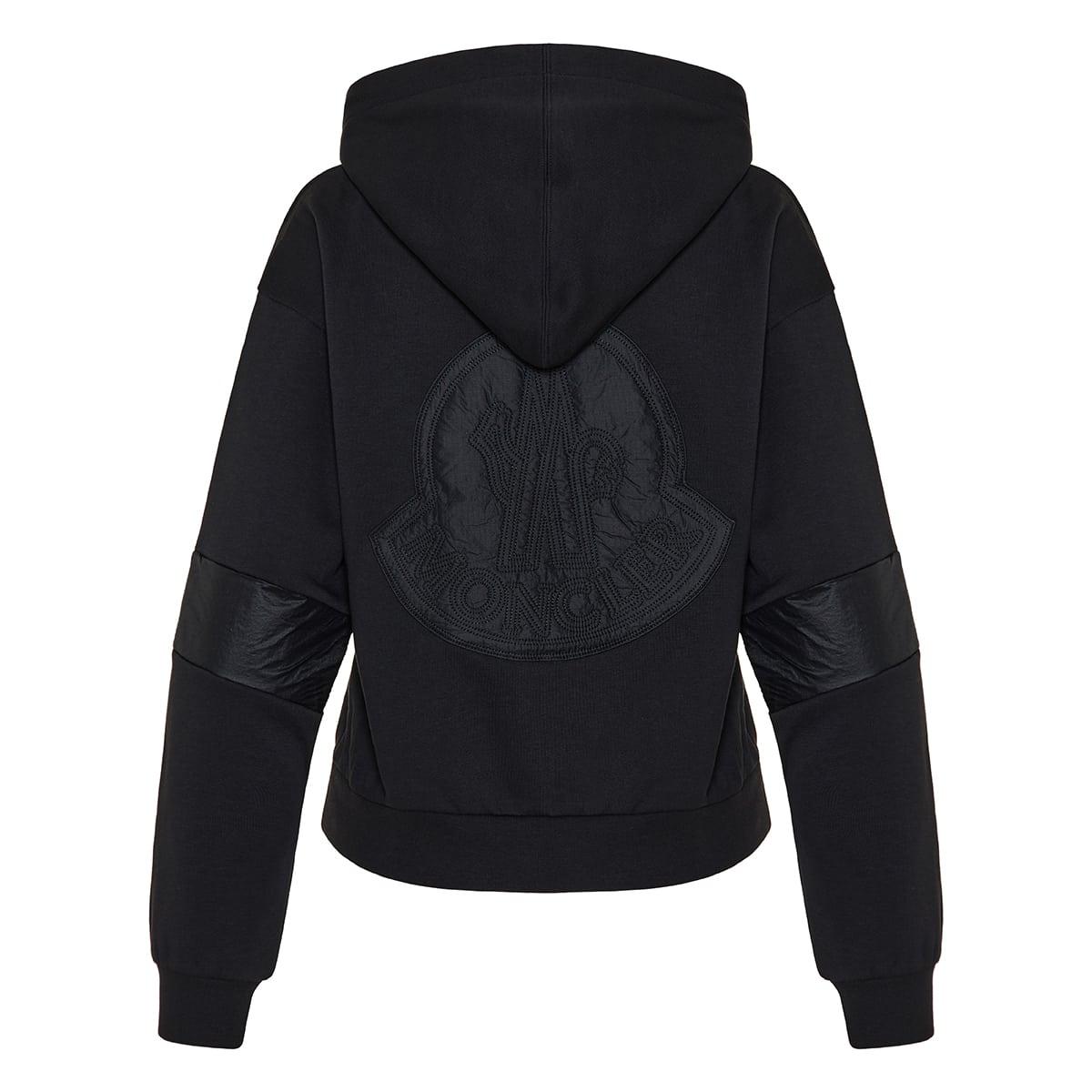 Nylon-paneled logo cotton hoodie