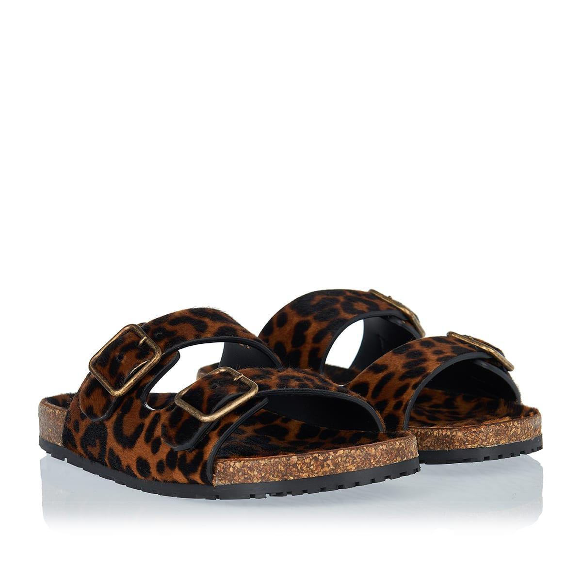 Jimmy leopard pony-effect flat sandals