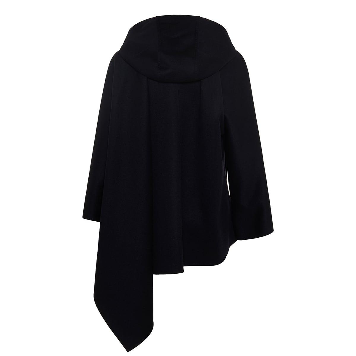 Asymmetric hooded wool cape