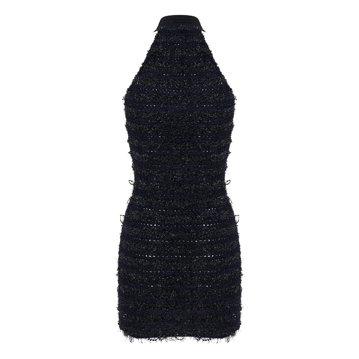 Halterneck tweed mini dress