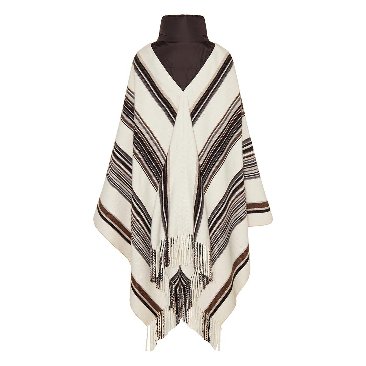 Striped cashmere blanket puffcho
