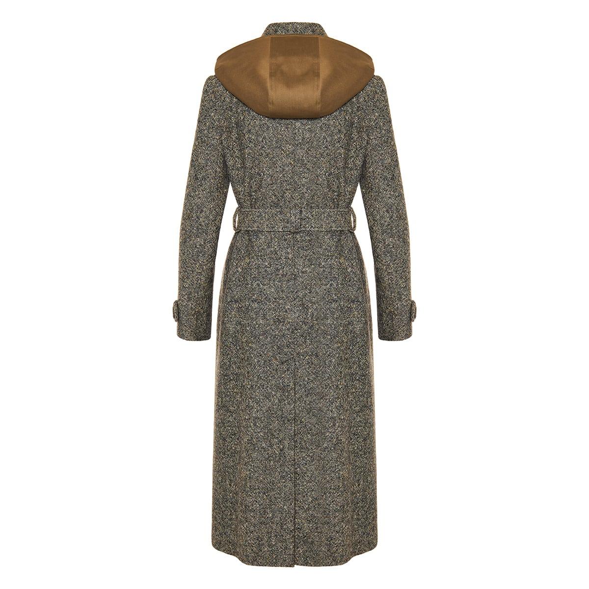 Silk wool tweed trench coat