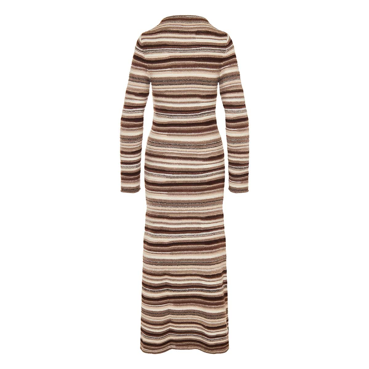 Striped long cashmere-knit dress