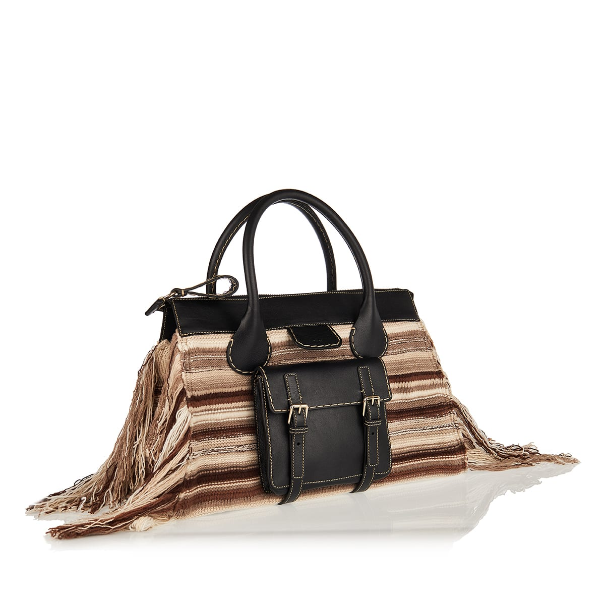 Edith large cashmere and leather bag
