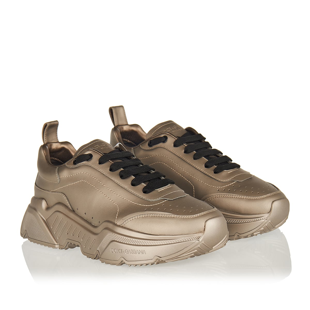 Daymaster metallic leather sneakers