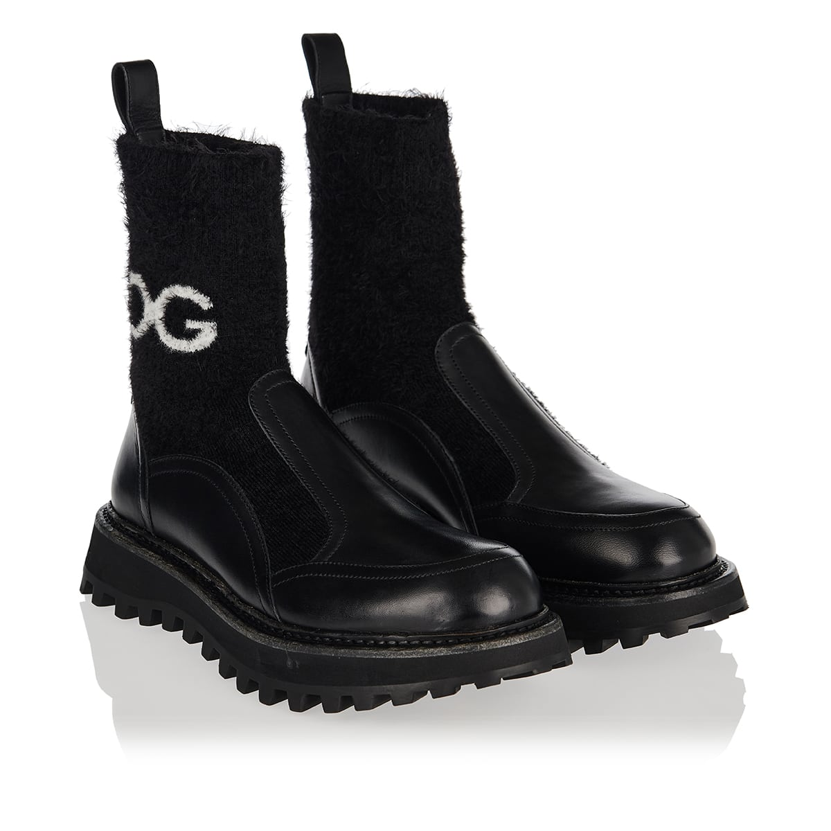 DG knit and leather sock boots
