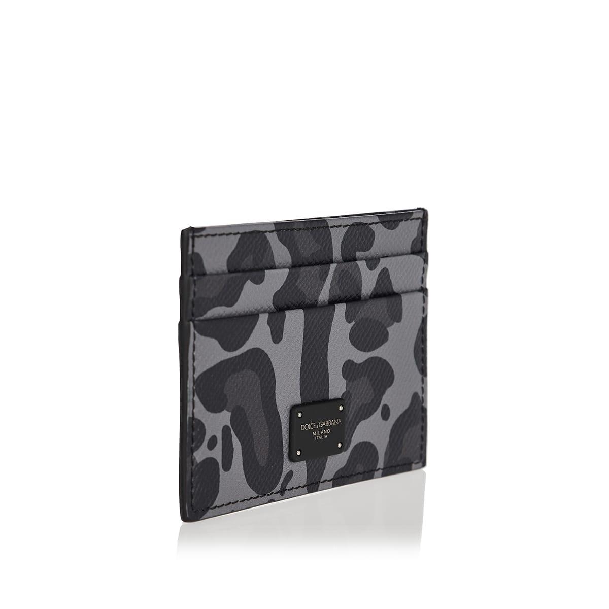 Leopard-print leather card case