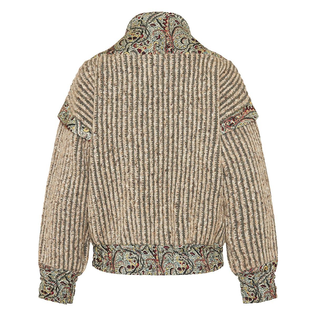 Paisley-paneled ribbed sweater