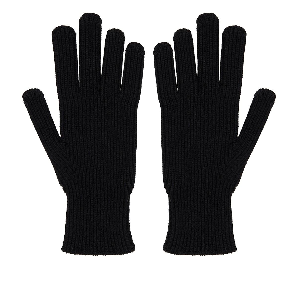 Rib-knit wool gloves