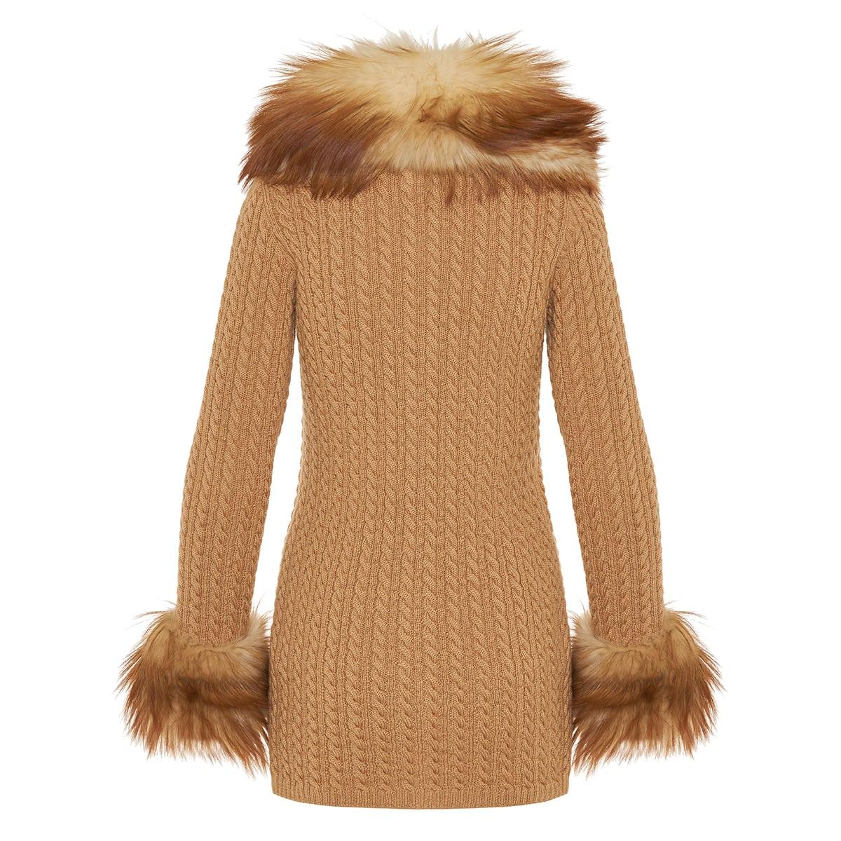 Fur-paneled wool cardigan