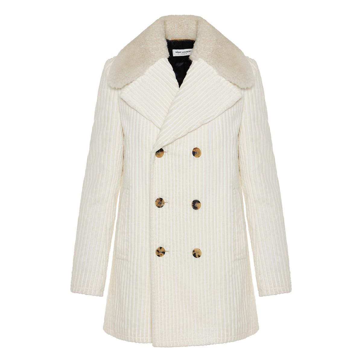 Double-breasted ribbed velvet coat