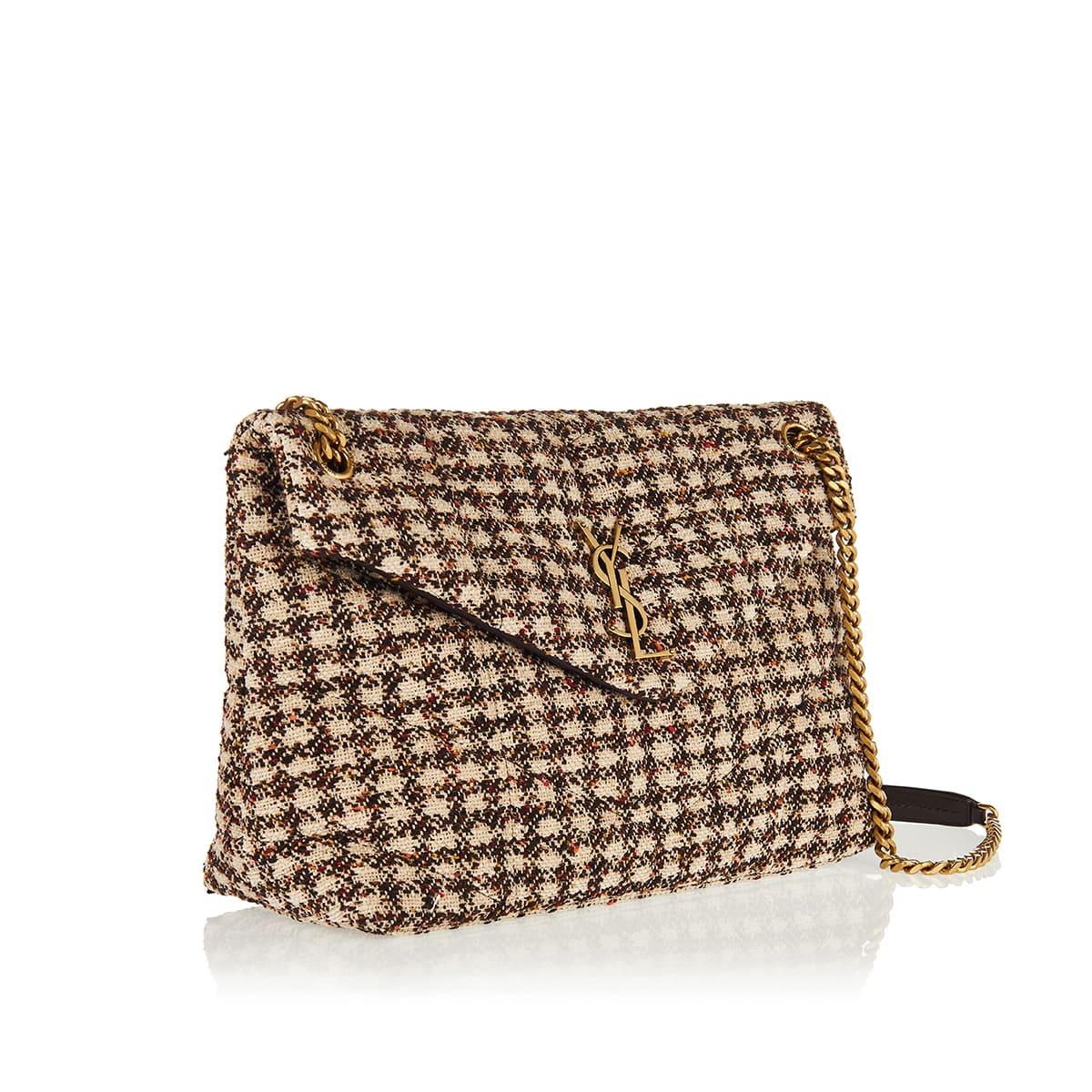 Puffer medium checked tweed bag