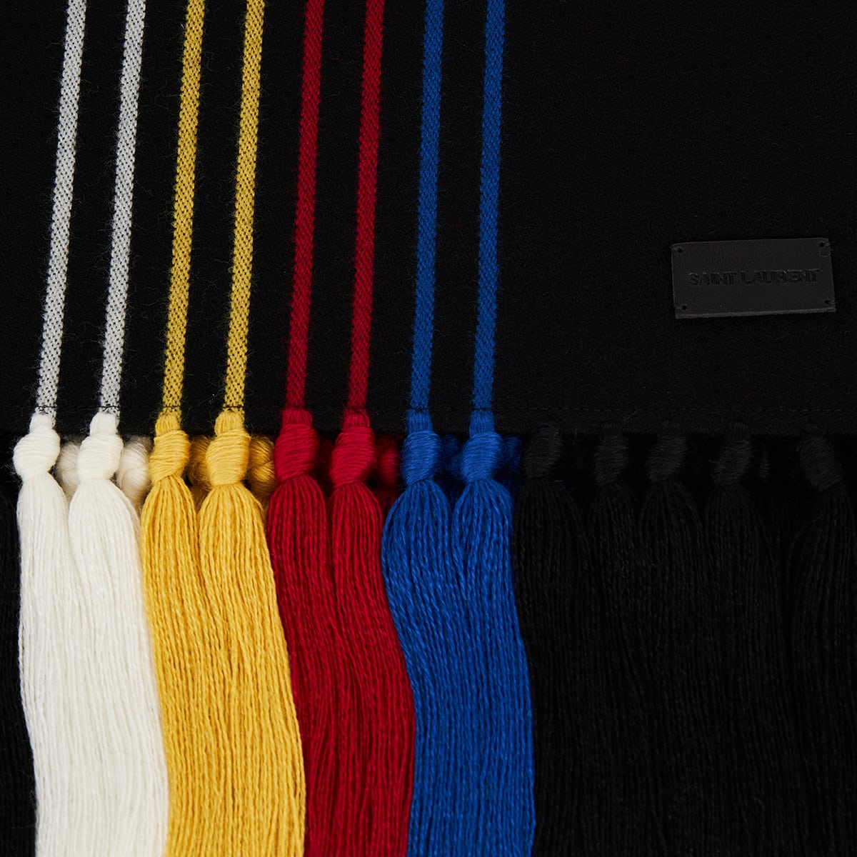 Striped wool-knit scarf with tassels